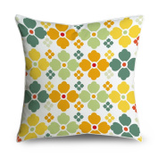 FabricMCC Yellow And Green Retro Flowers Pattern Square Accent Decorative Throw Pillow Case Cushion Cover 18x18