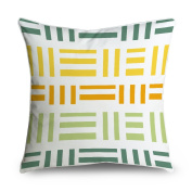 FabricMCC Green and Yellow Geometric Square Accent Decorative Throw Pillow Case Cushion Cover 18x18