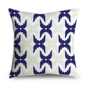 FabricMCC Abstract Floral Pattern in Navy Blue Square Accent Decorative Throw Pillow Case Cushion Cover 18x18