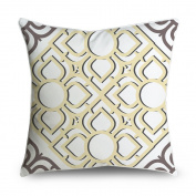 FabricMCC Throw Pillow Cover 18x18 Vintage Yellow and Grey Spanish Tile Pattern Square Accent Decorative Pillow Cushion Cover