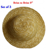 23cm (Set of 3) Vintage Round Top Straw Woven Hat for Dolls Bears Country Crafts