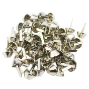 Ogrmar 50 Pieces Nickel Colour Plate Bottom Stud Bag Feet Purse Feet Spike Nailheads Brad 15mm leathercraft Findings