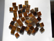 FortySevenGems 100 Pieces Stained Glass Mosaic Tiles 1.3cm Tan Brown Mix Glass Textured