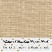Printable Natural Burlap Paper Pad | Burlap scrapbooking supplies | Laminated Burlap Paper for Burlap Prints | Burlap card stock - Size 22cm x 28cm - 10 sheets in 1 pack