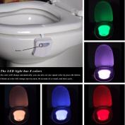 CRAVOG Colourful Motion Sensor Toilet Nightlight ,Oenbopo Home Toliet Bathroom Human Body Auto Motion Activated Sensor Seat Light Night Lamp 8-Colour Changes