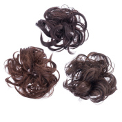 SWACC 3 Pcs Synthetic Messy Curly Dish Hair Bun Extension Elastic Hair tie hairpiece Scrunchie Chignon Tray Ponytail