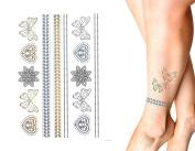 8 Sheets Temporary Metallic Tattoo Kits - Various Designs