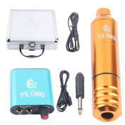 Yilong Tattoo kit Rotary Tattoo Machine and Permanent Makeup Pen with Tattoo Box and one tattoo power