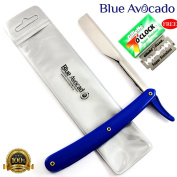 Professional Barber Razors, Stainless Steel Traditional Cut Throat Shaving/Shavette Straight Folding Blade Razor + Fine PVC Pouch By Blue Avocado