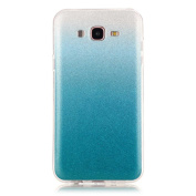 Moonmini Gradient Colour Sparkling Glitter Ultra Slim Fit Soft TPU Phone Back Case Cover for  for  for  for Samsung    Galaxy J7 (2015) - Sky-blue
