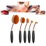 Multifunctional Oval Toothbrush Curve Makeup Brushes Set Eyebrow Eyeshadow Eyeliner Lip Powder Foundation Brush Cosmetic Tool for Face and Eyes Beauty 5pcs Set2,Rose Golden+Black