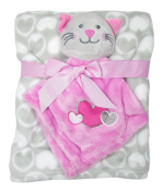 Little Beginnings Plush Blanket and Kitty Lovie One Size Grey/Pink