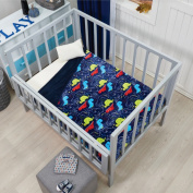 NEW BLUE,RED,GREEN DINOSAURS NURSERY CRIB BABY BLANKET WITH SHERPA