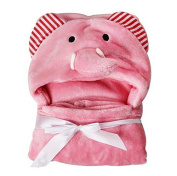 Labellevie Baby Blanket Newborn Baby Unisex Wrap Swaddle 100cm Animal Flannel Pink Elephant