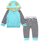 Zhuannian Baby Unisex Striped Long Sleeve Hoodies Tops Animal Outfits Sets