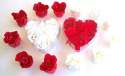 Christmas Rose Scent Bath Bomb, 12 red and white Rose Flower with Heart Gift Box.