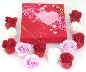 Valentine Heart box with 9 Rose bath bombs, Colourful Charming Rose Flower, lovely gift for christmas, birthday. 11go