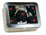 Black Bath Bomb w/Hearts set of 5 90ml scented w/ Little Black Dress