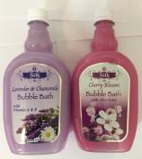 2pck - Silk Cherry Blossom and Lavender and Chamomile Bubble Bath 710ml