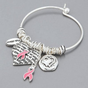 Scott Allah Design - Silver Breast Cancer Awareness Pink Ribbon Heart Charms Bangle Bracelet