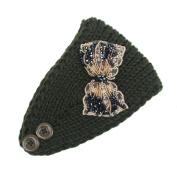 Hunputa Womens Warm Hat Skiing Cap Knitted Sequins Bow Empty Skull Beanie Headband
