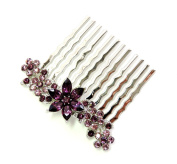 Faship Purple Crystal Floral Hair Comb