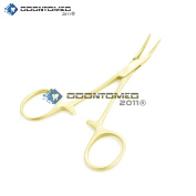 OdontoMed2011 HEMOSTAT FORCEPS BODY jewellery PIERCING TOOL GOLD PLATED CURVED QUALITY INSTRUMENTS