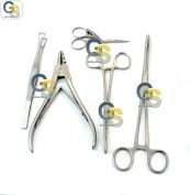 G.S 5 PIECES SET BODY PIERCING FORCEPS SCISSORS KIT SPONGE CLAMP