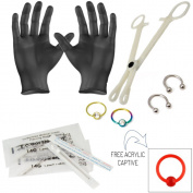 10 Pcs. Piercing Kit Incl. Captives, Horseshoes, Needles, Forceps, Gloves - PK014