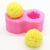 Creativemoldstore 1pcs two Small Rose Ball (C345) Silicone Handmade Soap Mould Crafts DIY Mould