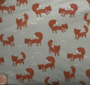 A walk in the woods foxes Moda fabric grey