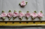 Fabric Satin Ribbon Rose Flower On The Ribbon String , 1.9cm Width For Each Flower, Sold by One Yard, Around 42 Flowers For One Yard