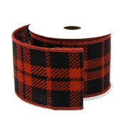 Plaid Gingham Faux Burlap Ribbon Wired Edge, Black/Red, 6.4cm , 10 Yards