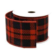 Plaid Gingham Faux Burlap Ribbon Wired Edge, Black/Red, 6.4cm , 10 Yards