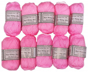TOPCHOICE 10 Skeins Yarn, 146yds Each Crochet Craft, 100% Acrylic, 50 g, Pink
