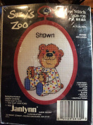 Suzy's Zoo P.J. Bear - Baby Name Cross Stitch Kit 7.6cm x 11cm with frame