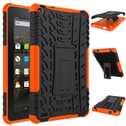Amazon Kindle Fire HD 7 2015 Case - Ikevan TPU+PC Rubber Shockproof Hybrid Hard Case Cover Stand Holder