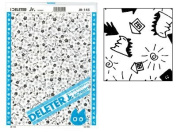 "Deleter Screen Tone Jr JR-145 [Chibi Kaiju and Houses Pattern][Sheet Size 182x253mm (7.16""x9.96"")] For Comic Manga Illustration Graphic Screentone"