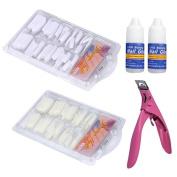 Nail Art ,Baomabao 100 Pcs White False Tips & Nail Art Glue Cutter Tool Set