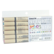 Deleter Neopiko-3 Watercolour Markers [ S12C Smoky 12 Colour Set ] Dual Tip for Fabric or Paper Comic Manga Graphic Illustration