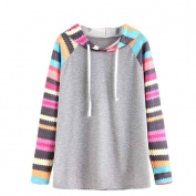 XILALU Women casual Hoodies multicolor stripe Printed Splicing T-Shirt