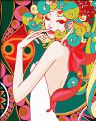 FramedPBN Paint By Number Kits Fashion Lady 34cm X17.7.6cm