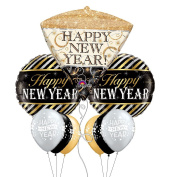 Elegant Happy New Year Themed Party Balloon Bouquet with Coloured Latex