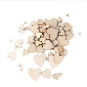 Happy Hours - Wooden Heart Shaped Scrapbooking For Crafts / Varnished Plain Mixed Embellishment For Kids