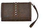 Brown Crackled Leather Wristlet and Smartphone Holder