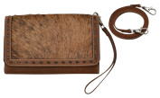 Distressed Brown Leather Wristlet with Rowan Hair Inlay