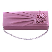 ABage Women's Clutch Purse Solid Satin Pleated Rose Party Wedding Evening Bags