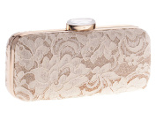 Women's Floral Lace Cover Evening Bag Chain Prom Bridal Clutch Vintage Style