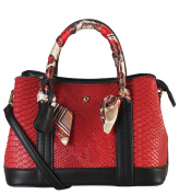 Diophy PU Leather Snake Skin Pattern Scarves Décor Top Handle Handbag Womens Purse Accented with Removable Strap AB-026