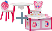 """IB-Style - Children's seating area """"Papillon""""   2 chairs + 1 table + 1 chest bench   table and chair set toybox bench nursery furniture kids"""